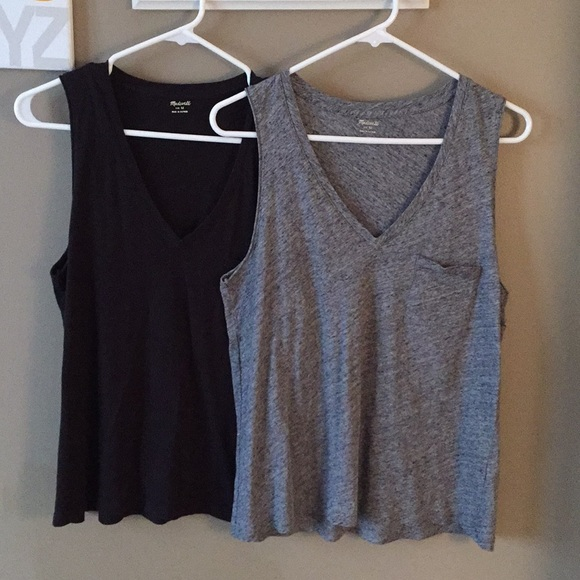 dad9296b40f75 Madewell Tops - Madewell Wisper Cotton V-Neck Pocket Tank Bundle